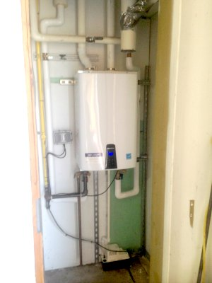 Federal job for the U.S. Coast Guard with a High efficiency Navien water heater.